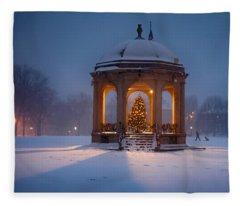 Snowy Night On The Salem Common Fleece Blanket