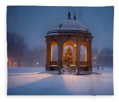 Snowy Night On The Salem Common Fleece Blanket