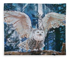 Snowy Owl On Takeoff  Fleece Blanket