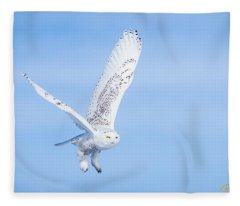 Snowy Owls Soaring Fleece Blanket