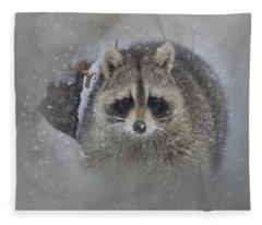 Snowy Raccoon Fleece Blanket