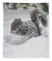 Snowy Squirrel Fleece Blanket