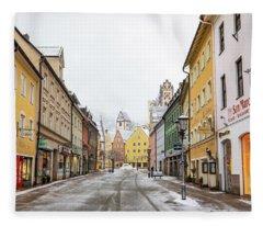 Snowy Street In Fussen Fleece Blanket