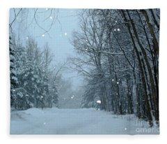 Snowy Street Fleece Blanket