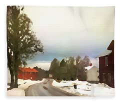 Snowy Street With Red House Fleece Blanket