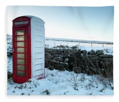 Snowy Telephone Box Fleece Blanket