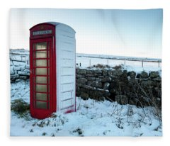 Snowy Telephone Box Fleece Blanket