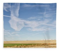 So Many Clouds And Contrails Fleece Blanket