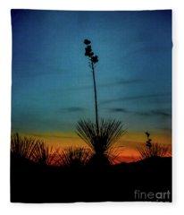 Soaptree Yucca At Sunset Fleece Blanket