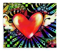Soaring Heart Coloration Fleece Blanket