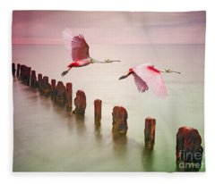 Soaring Spoonbills Fleece Blanket