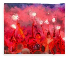 Soccer Fans Pictures Fleece Blanket