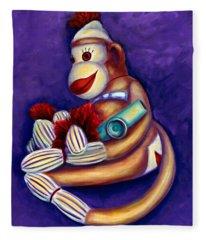 Sock Monkey With Kazoo Fleece Blanket