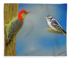 Soft Art Portrait Of Red Bellied Woodpecker And A Young Downy Wo Fleece Blanket
