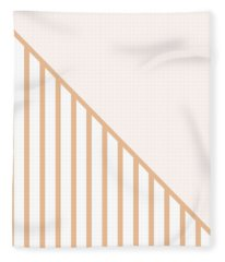 Soft Blush And Coral Stripe Triangles Fleece Blanket