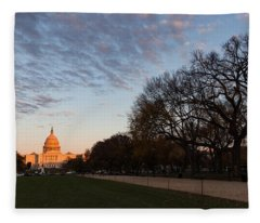 Soft Orange Glow - U S Capitol And The National Mall At Sunset Fleece Blanket