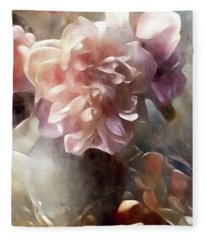 Soft Pastel Peonies Fleece Blanket