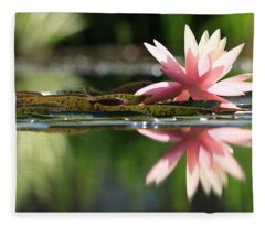 Soft Pink Water Lily Fleece Blanket