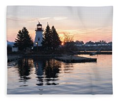 Soft Rose Daybreak At The Lighthouse Fleece Blanket