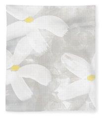 Soft White Flowers Fleece Blanket