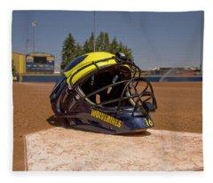 Softball Catcher Helmet Fleece Blanket