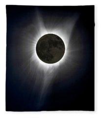 Solar Eclipse Corona Fleece Blanket
