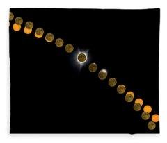 Solar Eclipse Stages 2017 Fleece Blanket