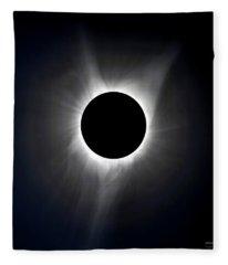 Solar Eclipse Totality Corona Fleece Blanket