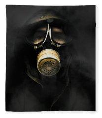 Soldier In Gas Mask Fleece Blanket