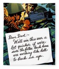 Soldier's Letter Home To Dad -- Ww2 Propaganda Fleece Blanket