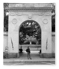 Soldiers Memorial Gate, Brown University, 1972 Fleece Blanket