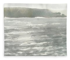 Soldis Over Glittrande Fjord - Sunlit Haze Over Glittering Water_0023 76x48cm Fleece Blanket