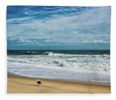 Solitary Seagull At Sandy Hook Surf Fleece Blanket