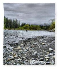 Solitude On The River Fleece Blanket