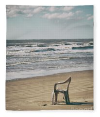 Solo On The Beach Fleece Blanket