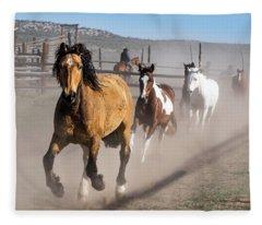 Sombrero Ranch Horse Drive At The Corrals Fleece Blanket