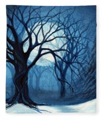 Something In The Air Tonight - Winter Moonlight Forest Fleece Blanket