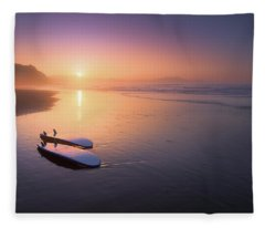 Sopelana Beach With Surfboards On The Shore Fleece Blanket