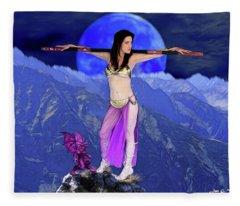 Sorceress And Her Familar Fleece Blanket