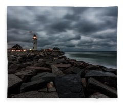 Stormy Clouds Over Old Scituate Lighthouse In The Early Morning Fleece Blanket