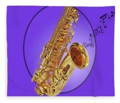 Sounds Of The Sax In Purple Fleece Blanket