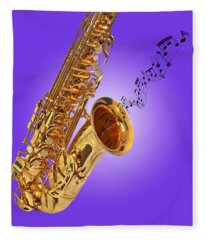 Sounds Of The Sax In Purple Fleece Blanket