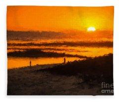 South Beach Sunset    Rvr Fleece Blanket
