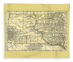South Dakota Antique Map 1891 Fleece Blanket