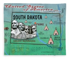 South Dakota Fun Map Fleece Blanket