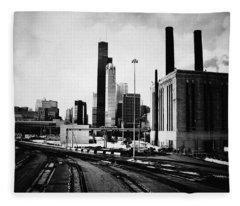 South Loop Railroad Yard Fleece Blanket