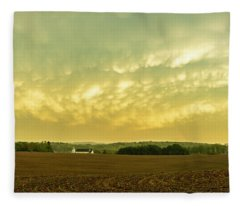 Thunder Storm Over A Pennsylvania Farm Fleece Blanket