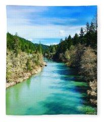 South Umpqua River Oregon  Fleece Blanket