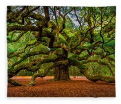 Angel Oak In Charleston Fleece Blanket