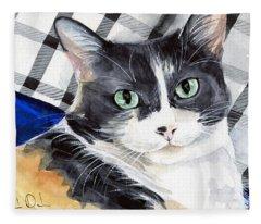 Southpaw - Calico Cat Portrait Fleece Blanket